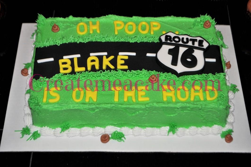 Route 16 Cake With Poop Emoji Cupcakes