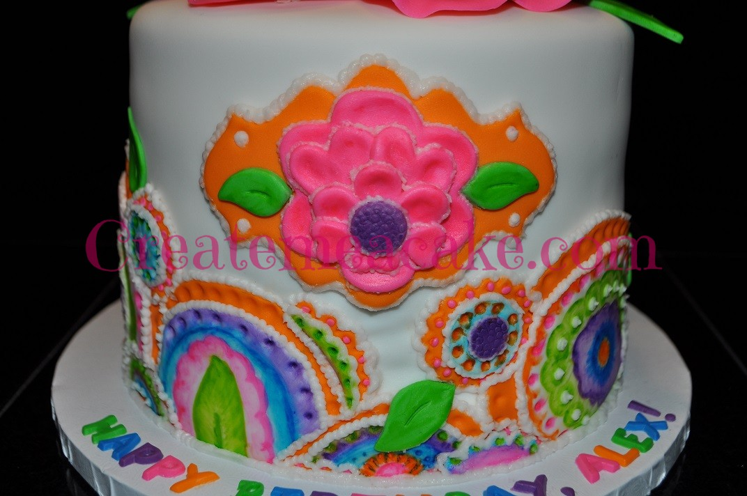 Bright Watercolor 21st Birthday Cake
