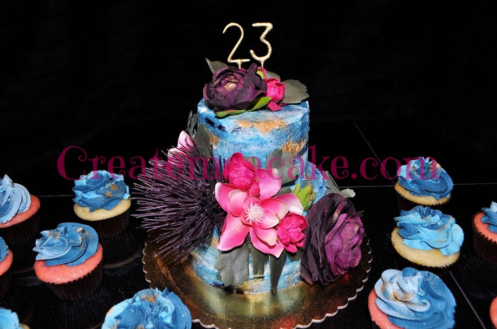 Blue & Gold Dusted Birthday Cake